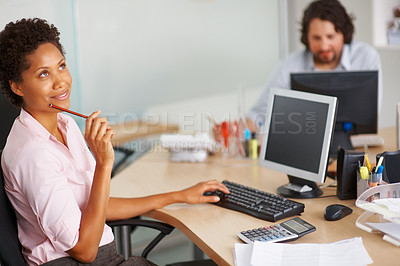 Buy stock photo Young business woman thinking with pencil in hand at workplace