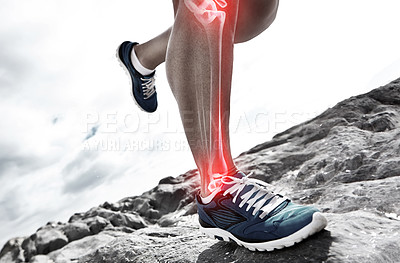 Buy stock photo Cropped shot of a runner's highlighted bones