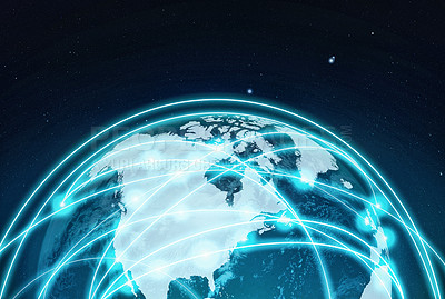 Buy stock photo A cropped view of the globe with countries linked by information networks