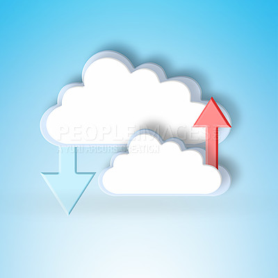 Buy stock photo Conceptual image representing modern cloud computing