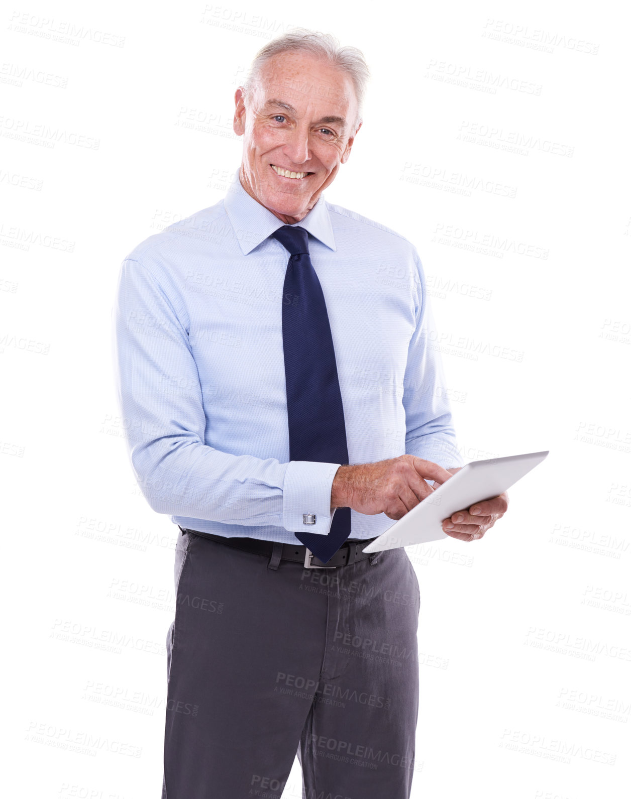 Buy stock photo Studio portrait of a mature man working on a digital tablet
