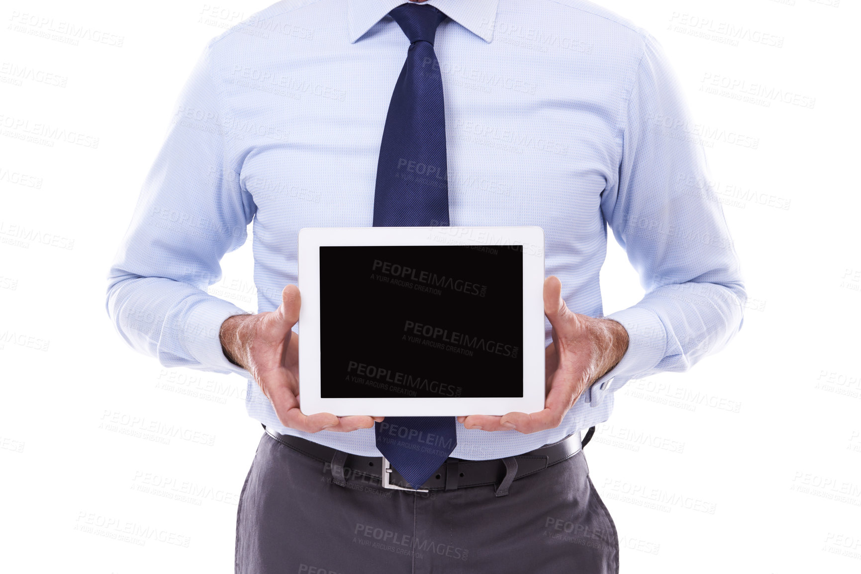 Buy stock photo Cropped shot of a senior man holding a tablet isolated on white