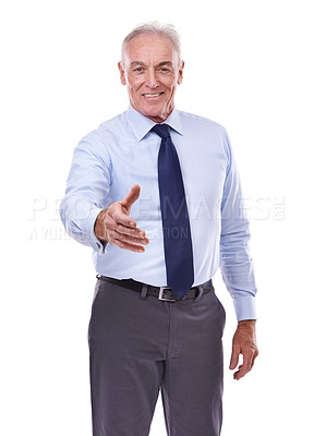 Buy stock photo Studio portrait of a senior business man with hand outstretched for a handshake