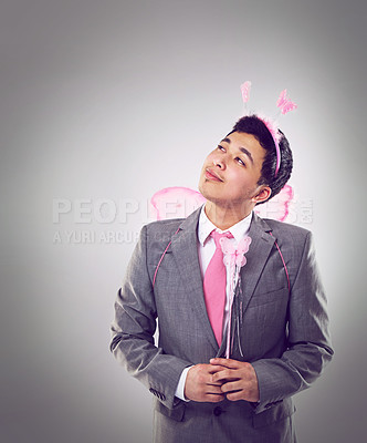 Buy stock photo A cropped shot of a businessman dressed as a fairy