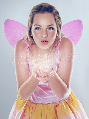 Buy stock photo A cropped shot of a cute fairy dressed in pink