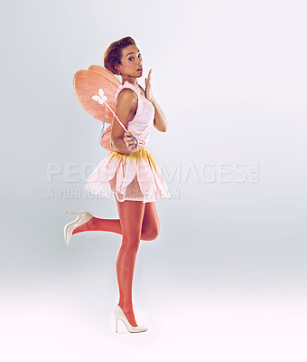 Buy stock photo A full length shot of a cute fairy