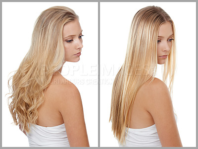 Buy stock photo Before and after shot of a young woman in the studio