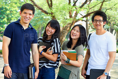 Buy stock photo Shot of asian students on campus
