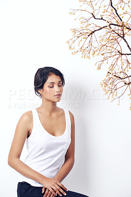 Buy stock photo Studio shot of an attractive young ethnic woman sitting under a branch