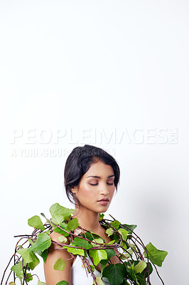 Buy stock photo Studio shot of an attractive young ethnic woman with foliage over her shoulder