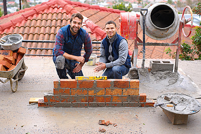 Buy stock photo Portrait of bricklayers at work