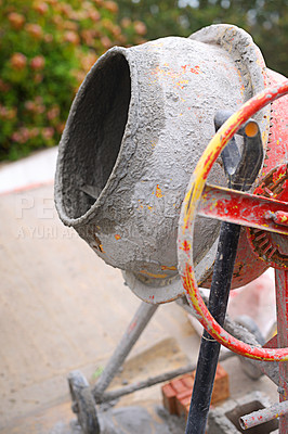 Buy stock photo Shot of a cement mixer at a building site