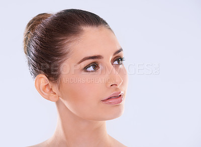 Buy stock photo Studio shot of a beautiful young woman with flawless skin