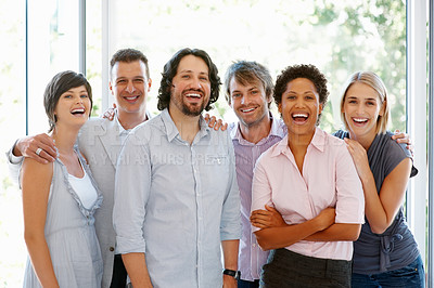 Buy stock photo Group of young business man and woman smiling at office