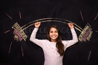 Buy stock photo Portrait of a young girl standing in front of a chalkboard drawing of a barbell