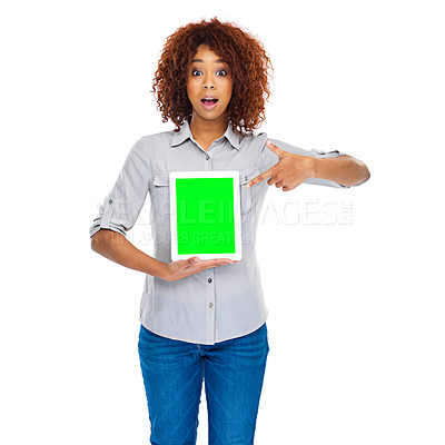 Buy stock photo Shot of a young woman using a digital tablet isolated on white