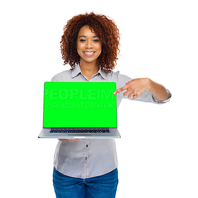 Buy stock photo A beautiful young African woman holding a laptop against a white background