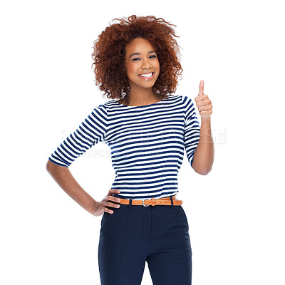 Buy stock photo Studio portrait of a beautiful young woman showing thumbs up against a white background