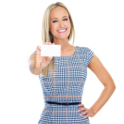 Buy stock photo Cropped studio portrait of a beautiful young woman holding out a blank business card