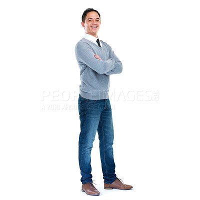 Buy stock photo Full length studio portrait of a young man isolated on white