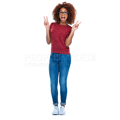 Buy stock photo Full-length studio portrait of a beautiful young woman showing the peace sign