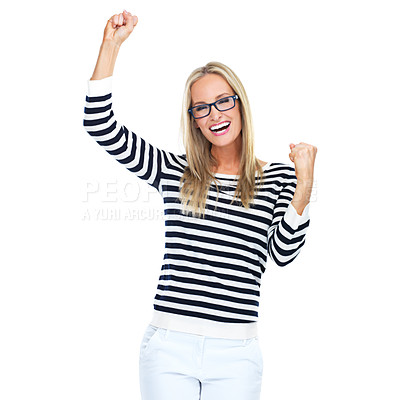 Buy stock photo Studio shot of a beautiful young woman celebrating a victory