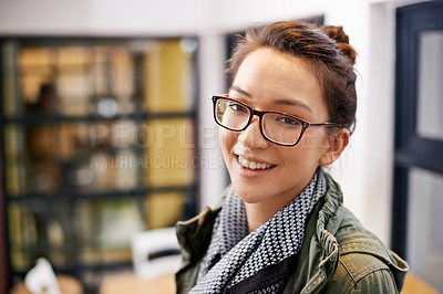 Buy stock photo Cropped shot of an attractive young woman at home