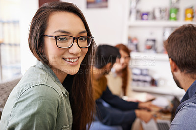 Buy stock photo Cropped shot of a group of friends in a coffee shop
