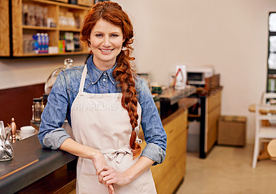 Buy stock photo Portrait of an attractive barista at work