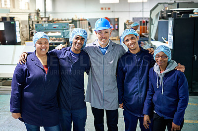 Buy stock photo Portrait of a people working inside a printing, packaging and distribution factory