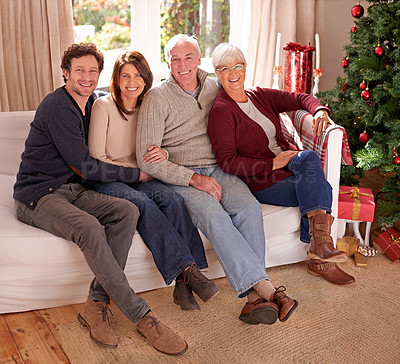 Buy stock photo Portrait of a family on christmas
