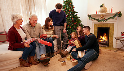 Buy stock photo Shot of a happy family on Christmas