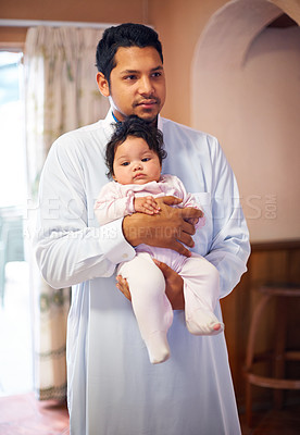 Buy stock photo Shot of a father cradling his little baby girl