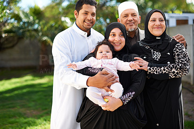 Buy stock photo A muslim family enjoying a day outside