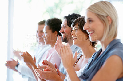 Buy stock photo Group of successful business people applauding on good presentation