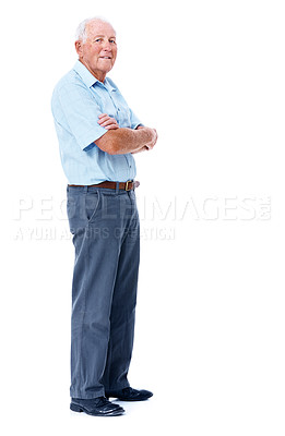 Buy stock photo Full length studio portrait of a elderly man with his arms crossed isolated on white