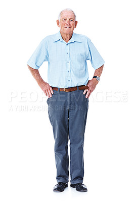 Buy stock photo Studio portrait of an elderly man standing with his hands on his hips isolated on white