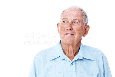 Buy stock photo Studio shot of a thoughtful-looking elderly man isolated on white