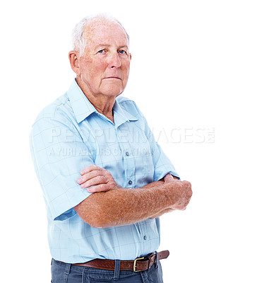Buy stock photo Studio shot of a serious-looking elderly man with his arms crossed isolated on white