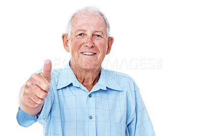 Buy stock photo Studio portrait of an elderly man giving the thumbs up isolated on white