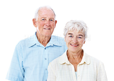 Buy stock photo Studio portrait of a smiling elderly couple isolated on white