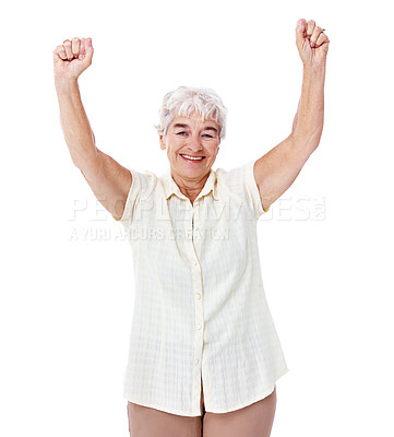 Buy stock photo Studio portrait of a smiling elderly woman with her arms raised in celebration isolated on white