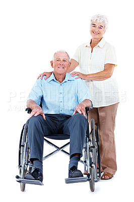 Buy stock photo Full length studio portrait of an elderly man in a wheelchair with his wife standing beside him isolated on white
