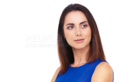 Buy stock photo Head and shoulders shot of an attractive young woman looking away thoughtfully against a white background