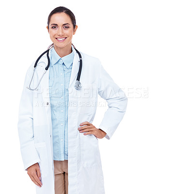 Buy stock photo Portrait of an attractive young doctor standing with her hand on her hip against a white background