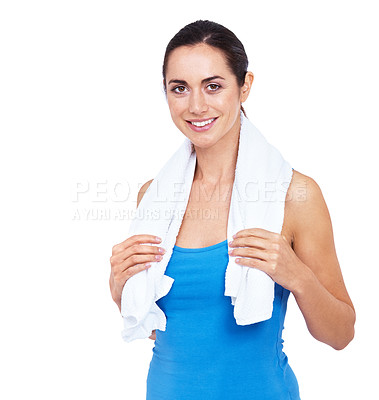 Buy stock photo Cropped shot of an attractive young woman standing with a towel around her neck