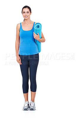 Buy stock photo Full length shot of an attractive young woman holding an exercise mat against a white background