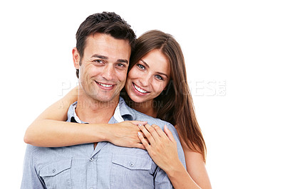 Buy stock photo Shot of a smiling couple against a white background