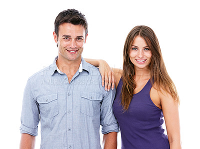 Buy stock photo Shot of a smiling couple against a white background -Studio shot