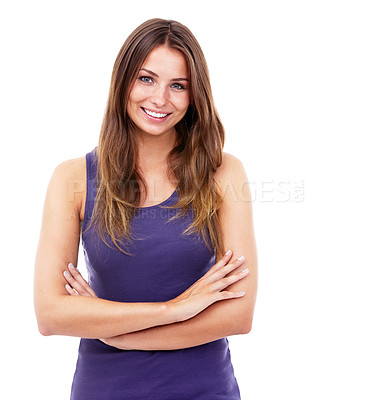 Buy stock photo Portrait of a pretty woman with her arms crossed against a white background -Studio Shot